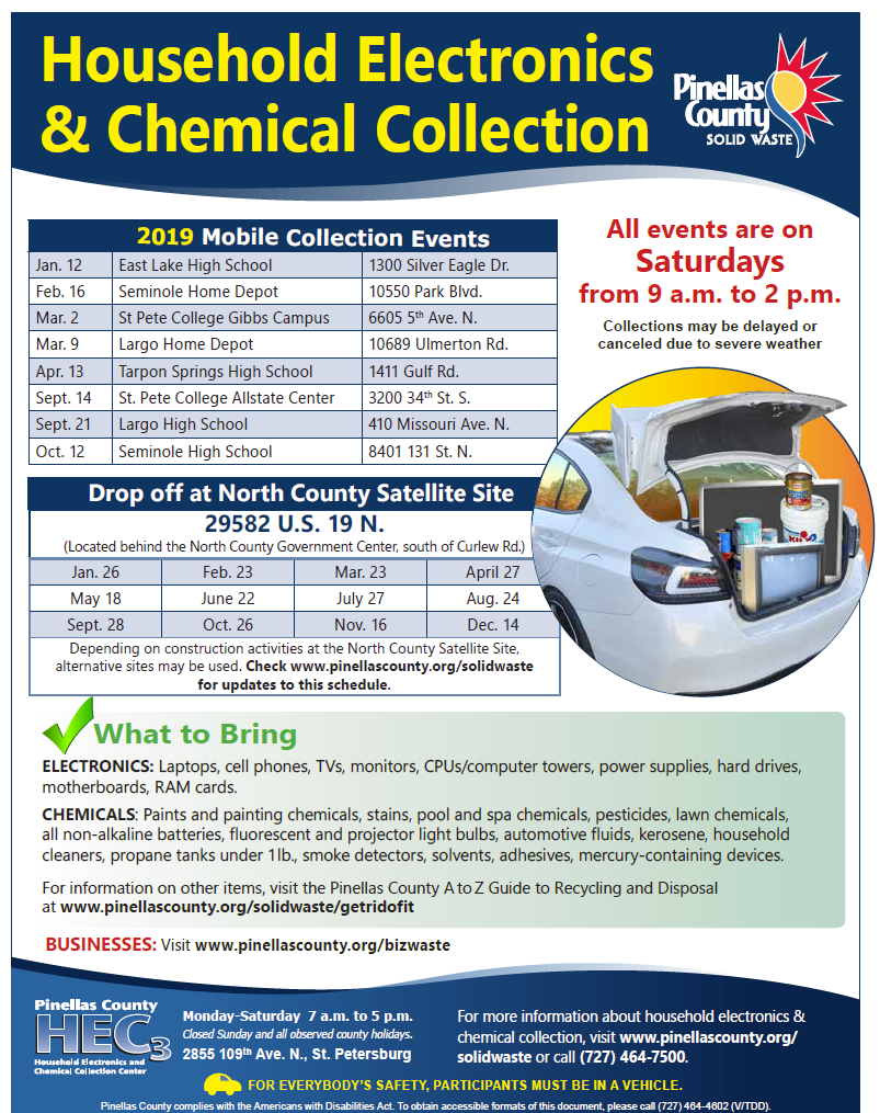 2019 Pinellas County Mobile Collection Schedule