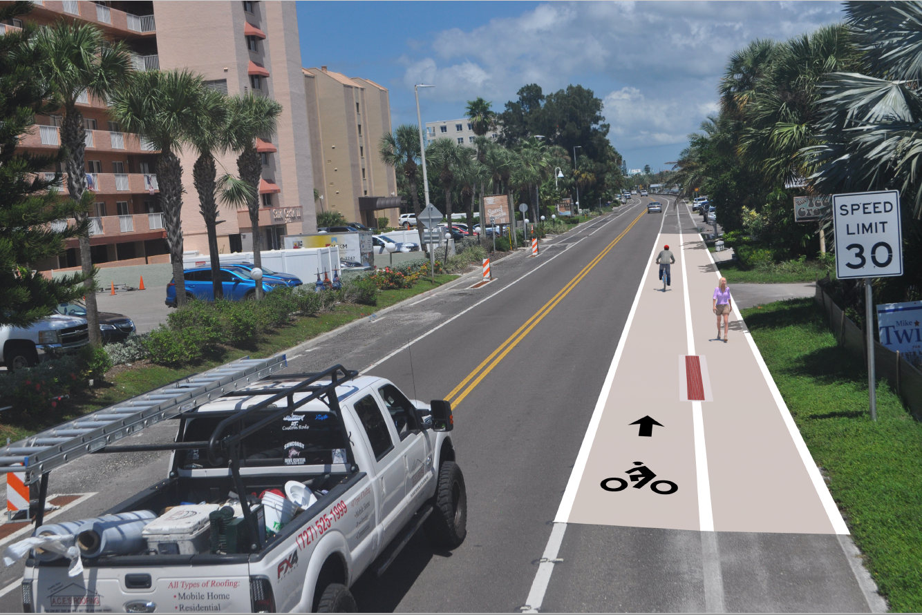 Proposed Coloring of Gulf Boulevard bike and pedestrian lanes (PNG)
